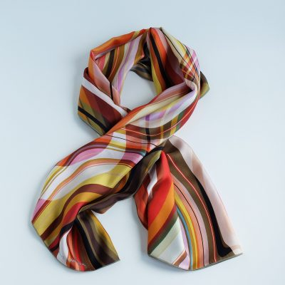 Silk scarf designed and crafted in Barcelona. Artwork by Dolors Manrubia