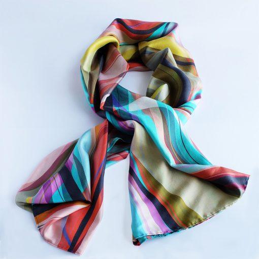 Pañuelo en seda, diseño Barcelona, obra de arte, pintura, impresión digital