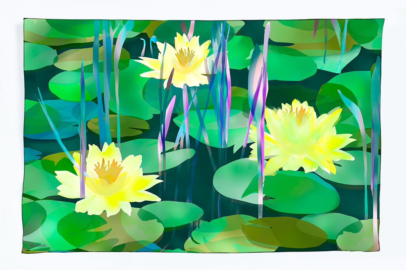 Foulard, echarpe, seda, estampación de tejidos, print, diseño, diseño de tejidos, la belleza de la flor de agua