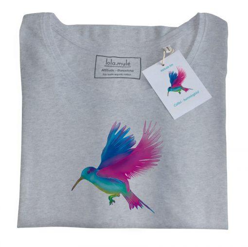 Camiseta Colibrí manga larga gris - Lola Mulé