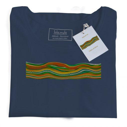 Camiseta Colores de Africa manga larga azul marino - Lola Mulé