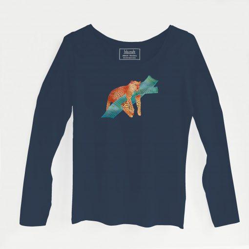 Camiseta Leopardo manga larga azul marino - Lola Mulé