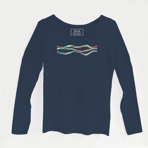 Camiseta Vibraciones manga larga azul marino - Lola Mulé