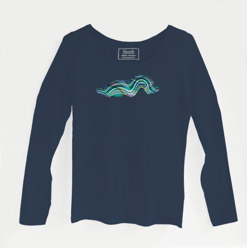 Camiseta Olas manga larga azul marino - Lola Mulé